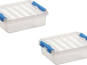 4x stuks sunware Q-Line opbergboxen/opbergdozen 1 liter 20 x 15 x 6 cm kunststof - Platte opslagboxen
