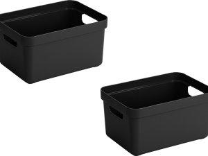5x stuks zwarte opbergboxen/opbergdozen/opbergmanden kunststof - 13 liter - opbergen manden/dozen/bakken - opbergers