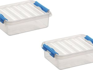 6x stuks sunware Q-Line opbergboxen/opbergdozen 1 liter 20 x 15 x 6 cm kunststof - Platte opslagboxen