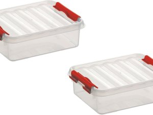 8x stuks sunware Q-Line opbergboxen/opbergdozen 1 liter 20 x 15 x 6 cm kunststof - Platte opslagboxen