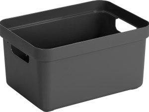 Antraciet grijze opbergboxen/opbergdozen/opbergmanden kunststof - 13 liter - opbergen manden/dozen/bakken - opbergers