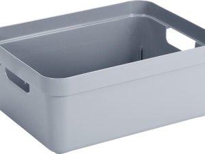 Blauwgrijze opbergboxen/opbergdozen/opbergmanden kunststof - 24 liter - opbergen manden/dozen/bakken - opbergers