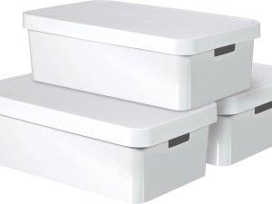 Curver Infinity Opbergbox - 30L - 3 stuks - Kunststof - Wit