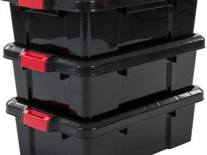 IRIS Powerbox opbergboxen - 25L - 3 stuks - Kunststof - Zwart/rood
