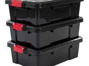 Iris Ohyama Powerbox Opbergbox - 25L - 3 stuks - Zwart/Rood