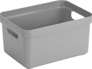 Lichtgrijze opbergboxen/opbergdozen/opbergmanden kunststof - 13 liter - opbergen manden/dozen/bakken - opbergers