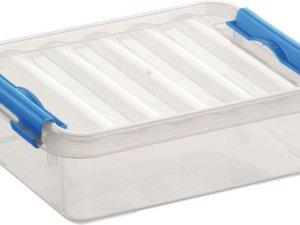 Sunware Q-Line opbergboxen/opbergdozen 1 liter 20 x 15 x 6 cm kunststof - Platte opslagboxen - Opbergbakken kunststof transparant/blauw