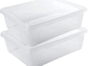 2x Voorraad/vershoudbakjes laag 2,5 liter transparant plastic/kunststof - 24 x 20 x 8 cm - Vienna - Vershouddoos bakjes - Mealprep - Maaltijden bewaren