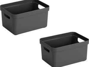 5x stuks antraciet grijze opbergboxen/opbergdozen/opbergmanden kunststof - 5 liter - opbergen manden/dozen/bakken - opbergers