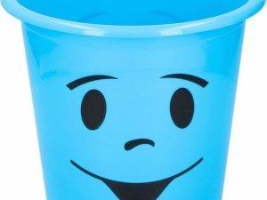 Blauw prullenbakje met gezichtje 5 liter - Kinderkamer bureau accessoires - Blauwe afvalbak/papierbak met smiley 5 liter