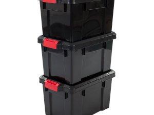 IRIS Powerbox Opbergbox - 21L - 3 stuks - Zwart/Rood