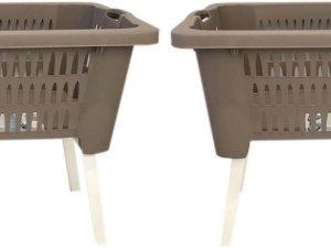Set van 2x stuks taupe kunststof wasmanden op poten 38 liter - Wasmanden/wasgoedmanden - Huishoudelijke producten/artikelen - Huishouden