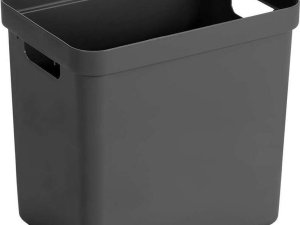 1x Antraciet grijze opbergboxen/opbergdozen/opbergmanden kunststof - 25 liter - opbergen manden/dozen/bakken - opbergers