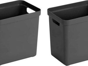 2x Antraciet grijze opbergboxen/opbergdozen/opbergmanden kunststof - 25 liter - opbergen manden/dozen/bakken - opbergers