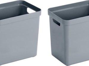 2x Blauwgrijze opbergboxen/opbergdozen/opbergmanden kunststof - 25 liter - opbergen manden/dozen/bakken - opbergers