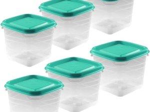 9x Voorraad/vershoudbakjes 0,3 liter transparant/groen plastic/kunststof - 9 x 9 x 11 cm - Palermo - Vershouddoos bakje - Mealprep - Maaltijden bewaren