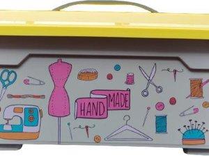 Naai accessoires opbergbox met deksel en handvat / organiser / opbergdoos / 38 x 26.5 x 18.5 cm