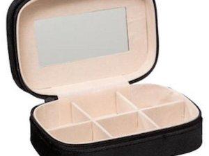Sieradenbox Opberger - Bijouteriedoos Opbergbox - Reis Juwelen Opbergdoos - Reistas in zwart velours