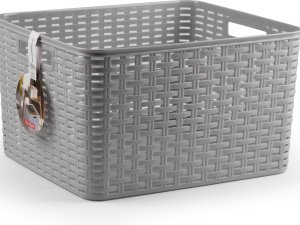 1x Zilveren geweven opbergboxen/opbergdozen/opbergmanden kunststof - 28,5 liter - opbergen manden/dozen/bakken - opbergers