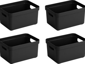 4x stuks zwarte opbergboxen/opbergdozen/opbergmanden kunststof - 5 liter - opbergen manden/dozen/bakken - opbergers