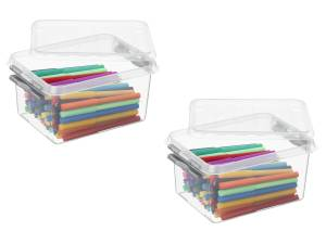 3x Stuks Sunware Q-line Opbergboxen/opbergdozen 2 Liter 20 X 15 X 10 Cm Kunststof - Praktische Opslagboxen