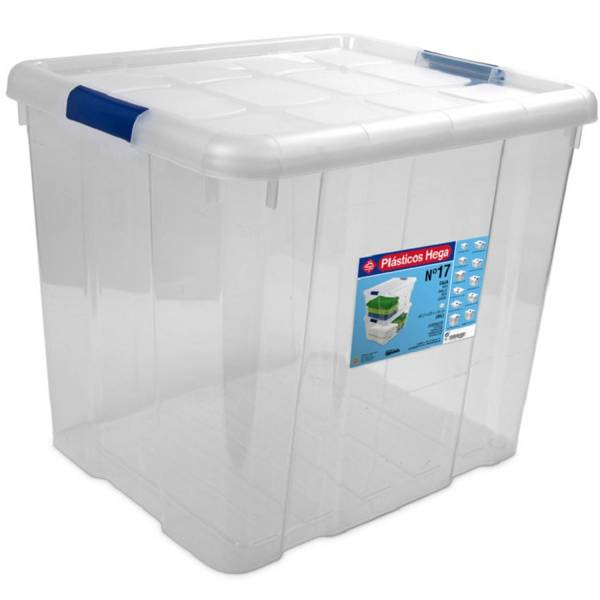 1x Opbergboxen/opbergdozen Met Deksel 35 Liter Kunststof Transparant/blauw - 42 X 35 X 35 Cm - Opbergbakken