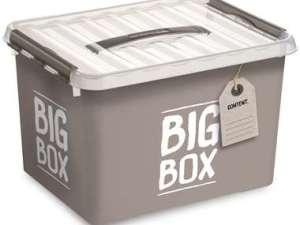 Stapelbare Q-line opbergbox Big 22 liter - taupe - 26x30x40 cm - Leen Bakker