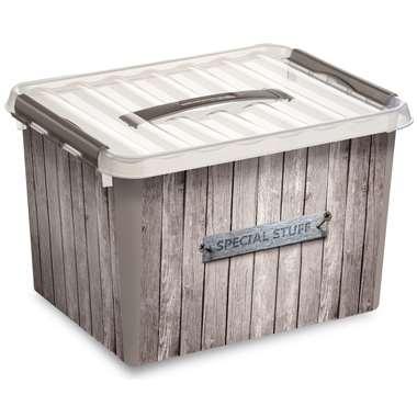 Stapelbare Q-line opbergbox Hout 22 liter - taupe - 26x30x40 cm - Leen Bakker