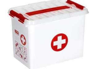 Stapelbare Q-line opbergbox EHBO 9 liter - wit/rood - 22x20x30 cm - Leen Bakker