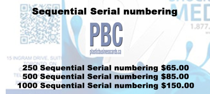 Sequential Serial numbering plastic business cards canada