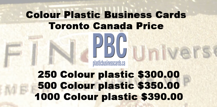 Colour Plastic Business Cards Toronto Canada Price
