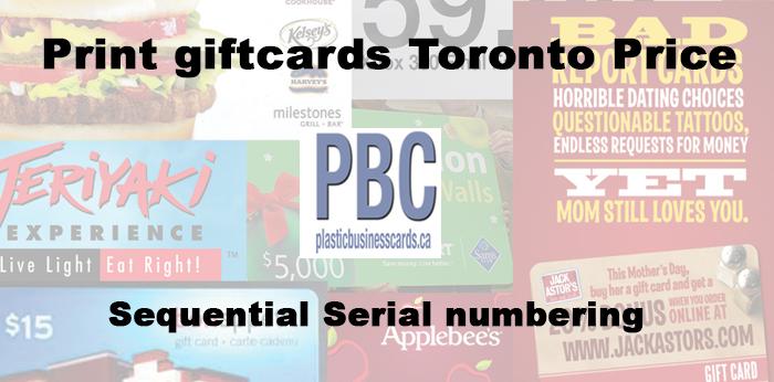 Print giftcards Toronto Price