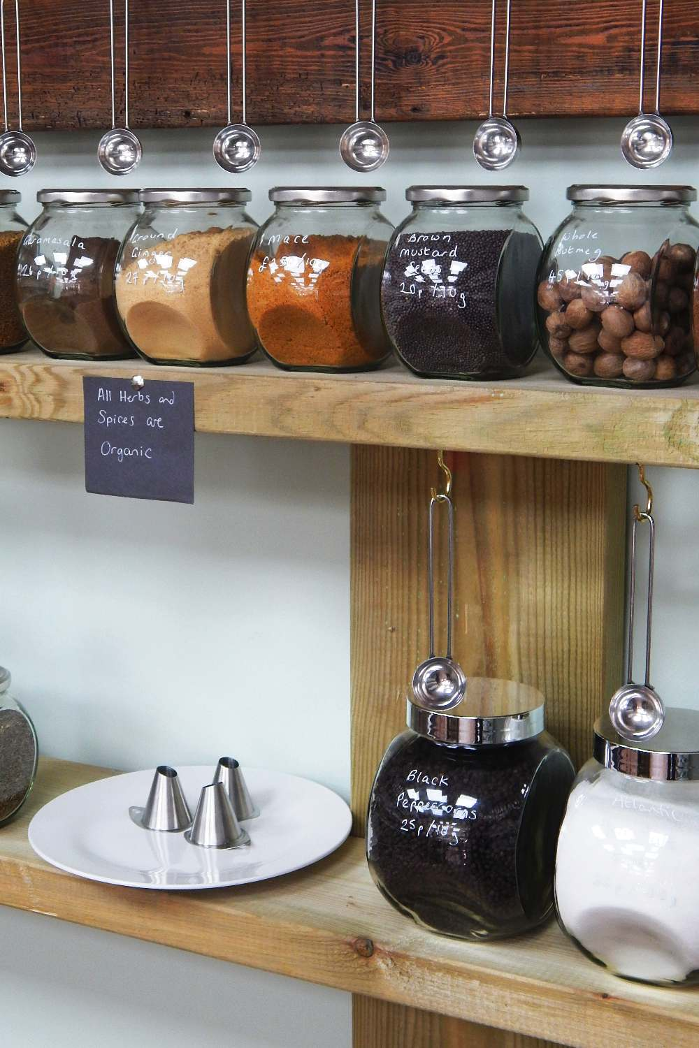 Jars of spices, salt and pepper