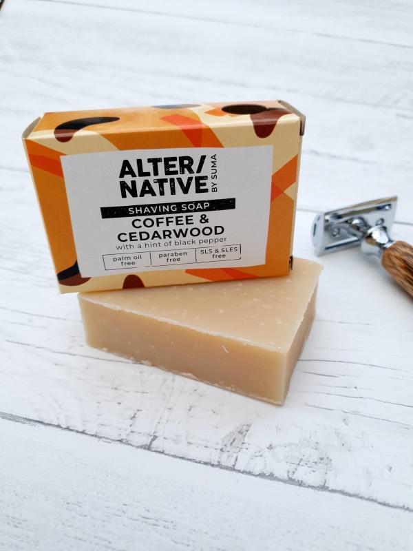Coffee and cedarwood shaving soap bar
