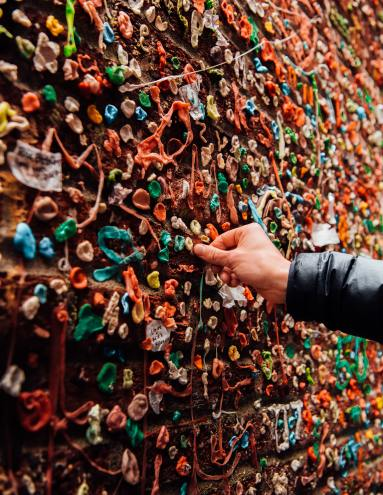 gum on a wall