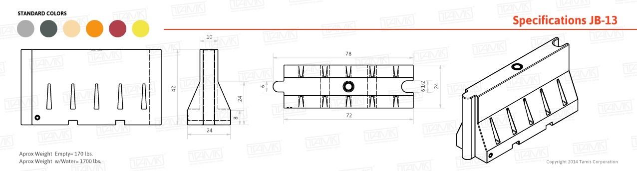 JB-13 Plastic Barrier Specification