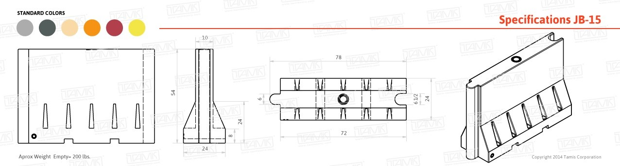 JB-15 Tall Plastic Barrier Specifications