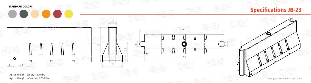 JB-23 Plastic Barrier Specifications
