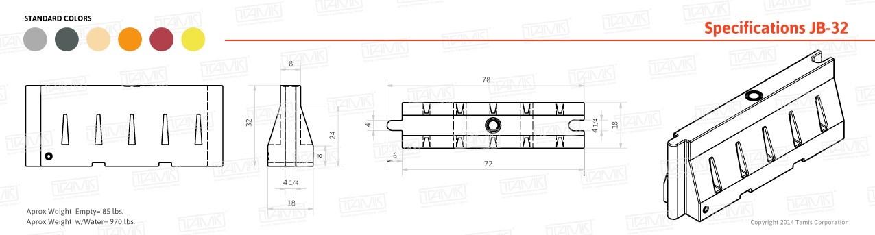 JB-31 Plastic Barrier Specifications