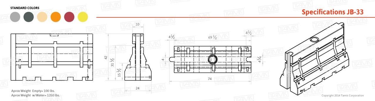 JB-33 Plastic Barrier Specifications