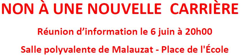 Tract et bulletin d'adhésion pour l'association Préservons le plateau de Lachaud et Châteaugay. Non à une nouvelle carrière. Mis à jour pour la réunion du 06 juin 2019 à Malauzat.