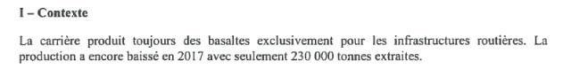 Extrait du rapport d'inspection de la carrière de Saint Julien de Coppel en 2018