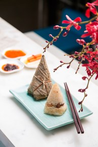 Sticky rice in lotus leaf with pork belly and shiitake mushrooms (2)
