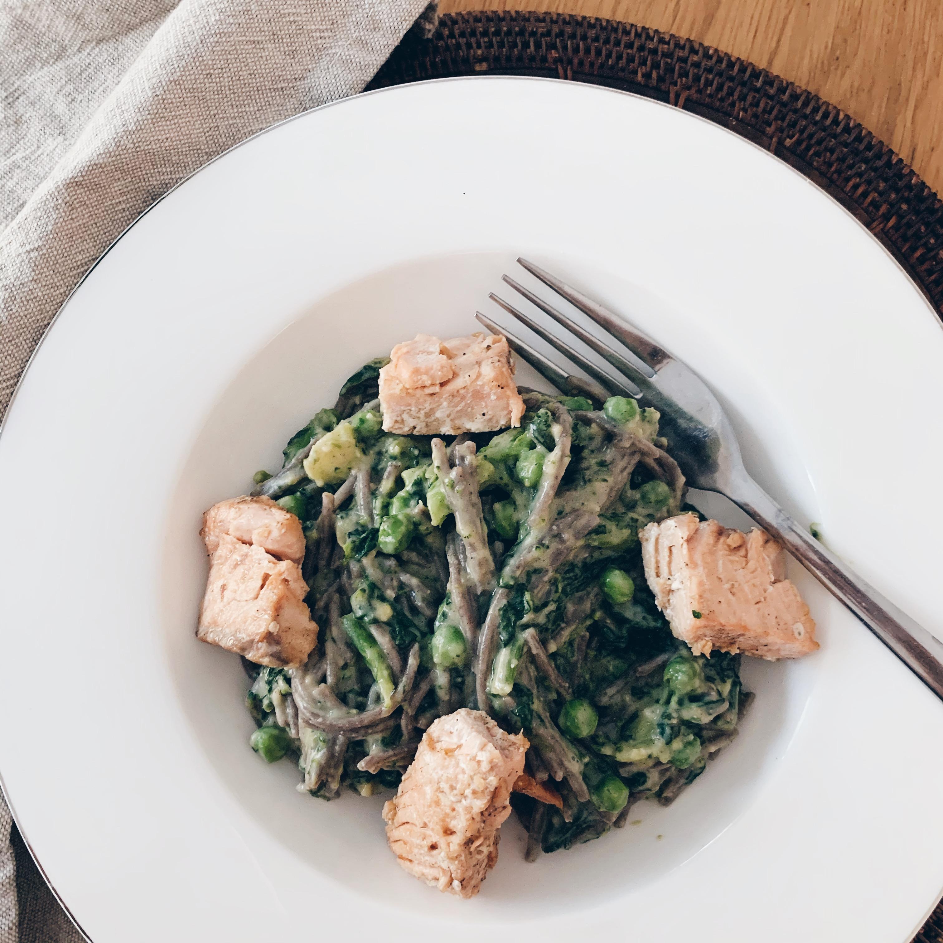 gluten and dairy free salmon pasta
