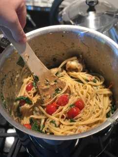 Stirring Tomato and Shrimp Pasta