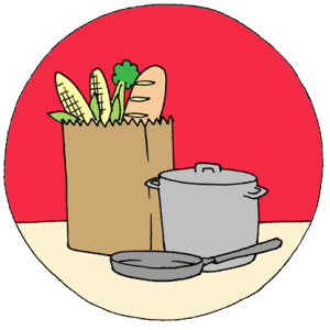 circle with red background of a grocery bag, tall pot and pan on a manila colored table