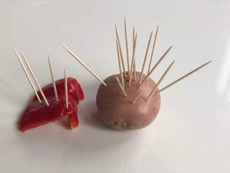 Potato and pepper with toothpicks