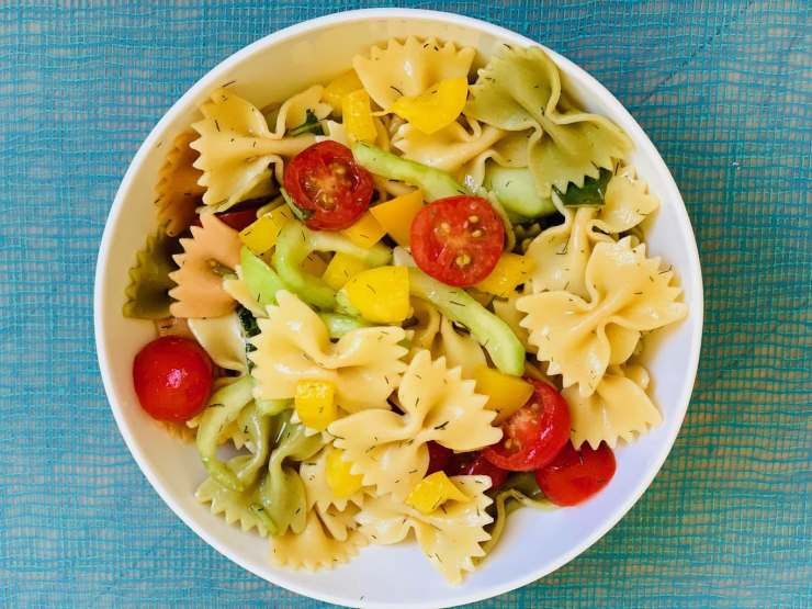 Bow tie pasta salad in a bowl