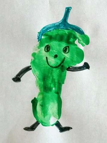 Green footprint of poblano pepper