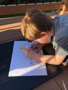 Child drawing spring landscape